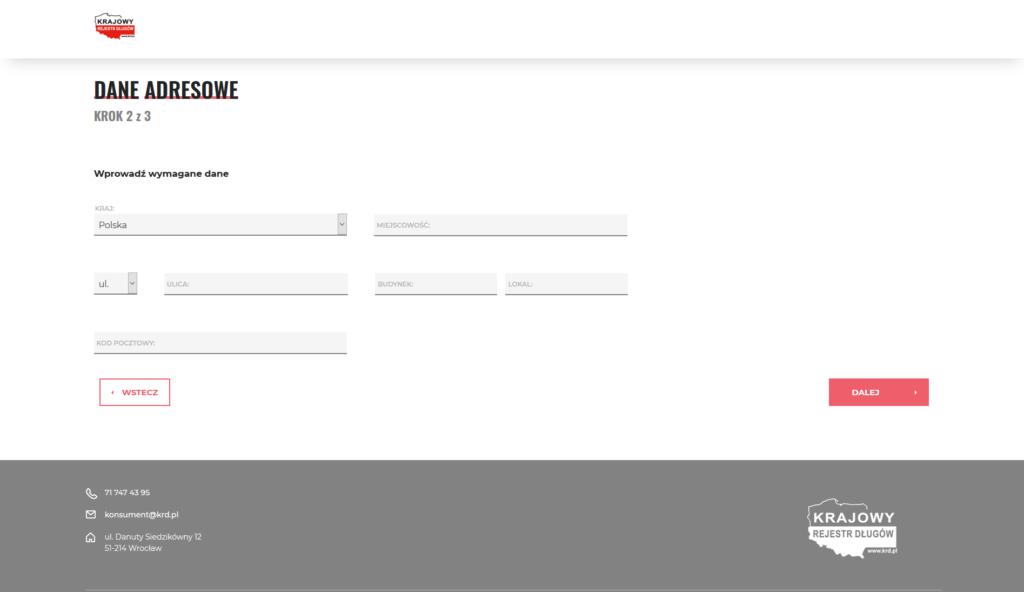 krajowy rejestr dlugow jak sprawdzic czy jestem w krd - dane adresowe